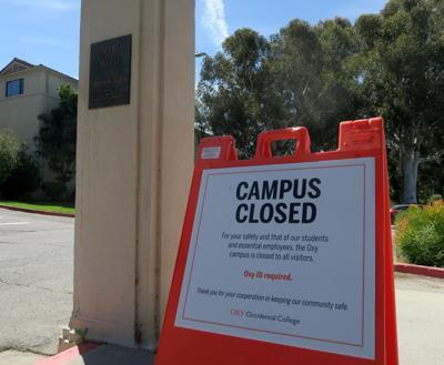 Occidental College Campus Closed sign