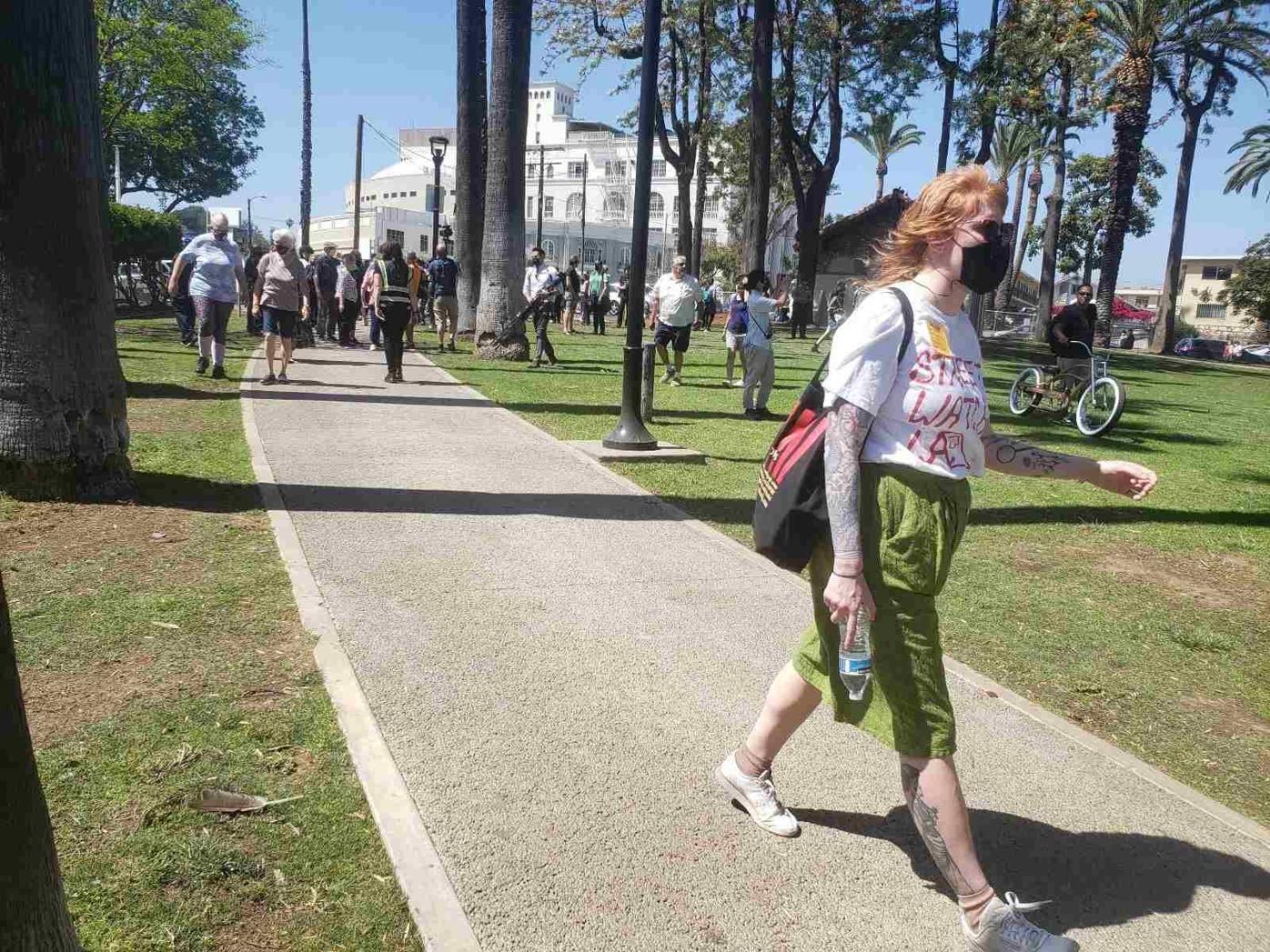 Crowds enter Echo Park Lake