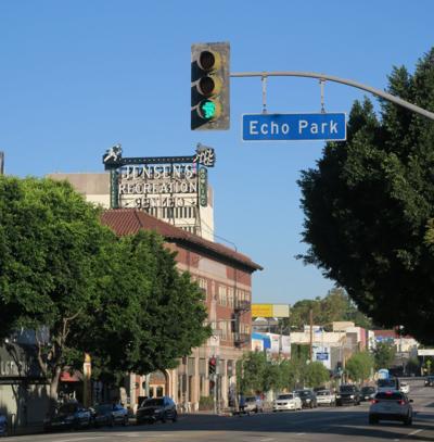 Echo Park street scene Echo Park Avenue and Sunset boulevard