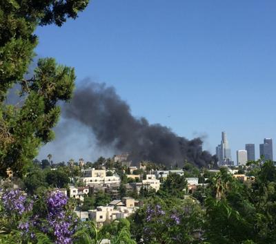 Smoke rises on Echo Park - Silver Lake border