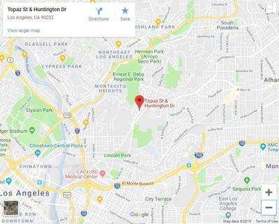 Google map of Huntington Drive North and TOpaz in El Sereno