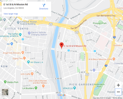 google map of mission road and 1st street