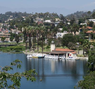 Echo Park Lake viewed from Clinton Street