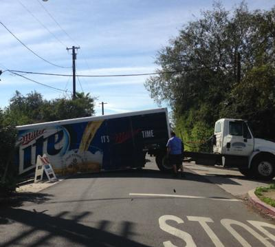 Miller Time Will Have To Wait:  Beer truck gets stuck on Echo Park hill