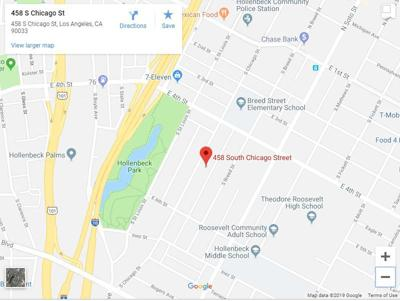 Google map of fire in the 400 block of S. Chicago Street in Boyle Heights
