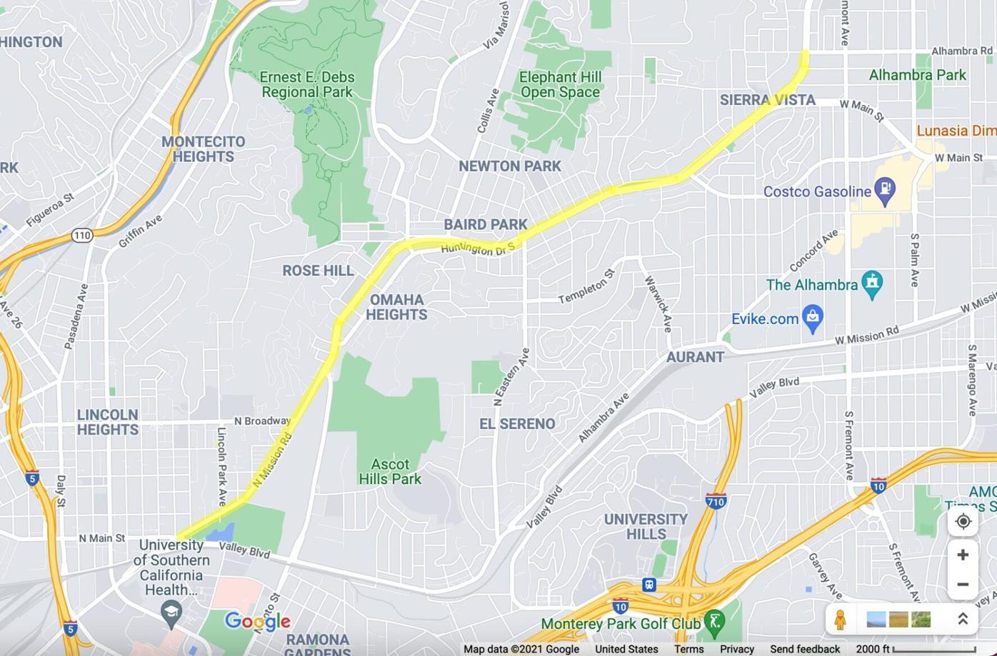 Huntington Drive corridor study map
