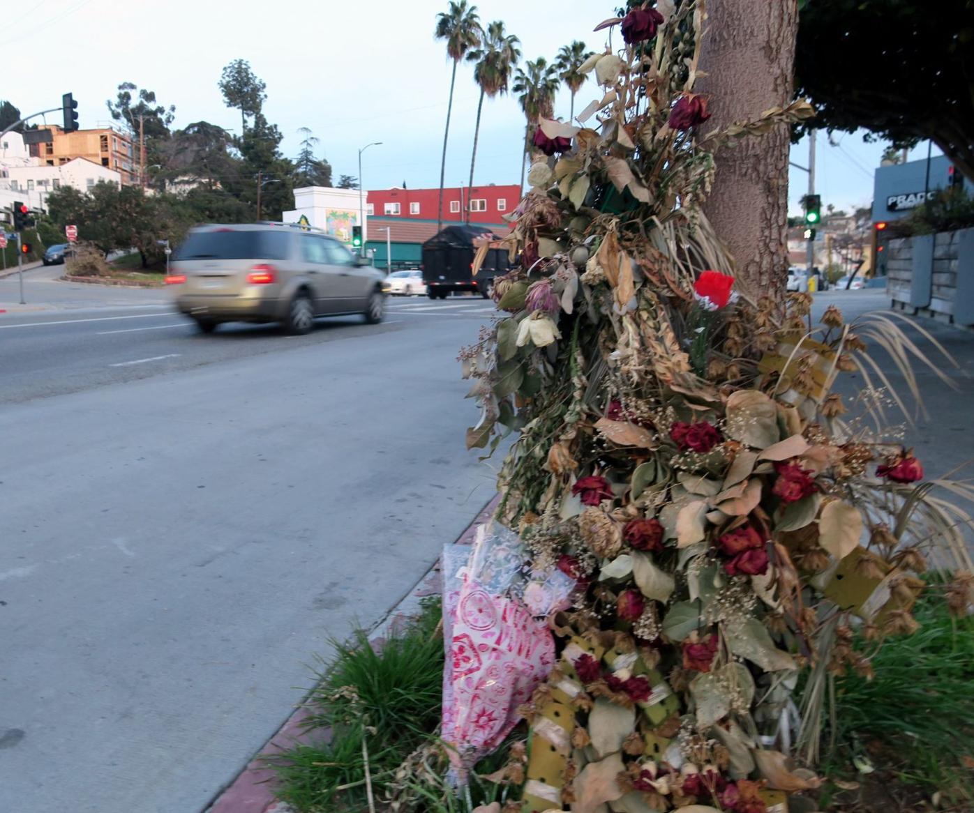 sidewalk memorial to sunset boulevard hit-and-run victim Rosa Garcia