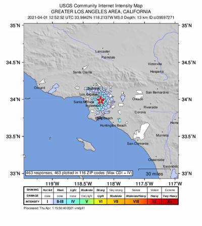 Huntington Park quake map