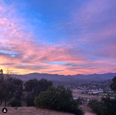 Pink and blue sunset view from Elysian Park