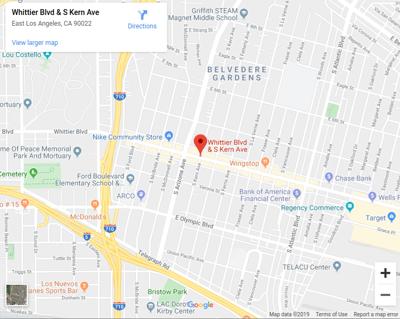 Whittier Boulevard and Kern Avenue map