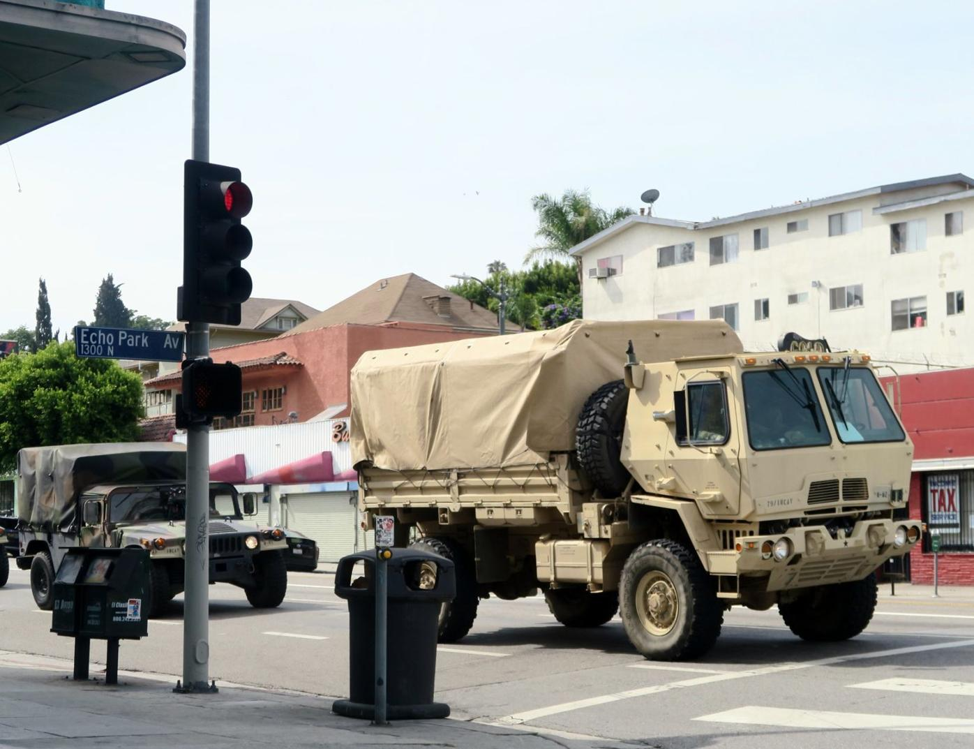 National Guard vehicle at Sunset Boulevard and Echo Park Ave.