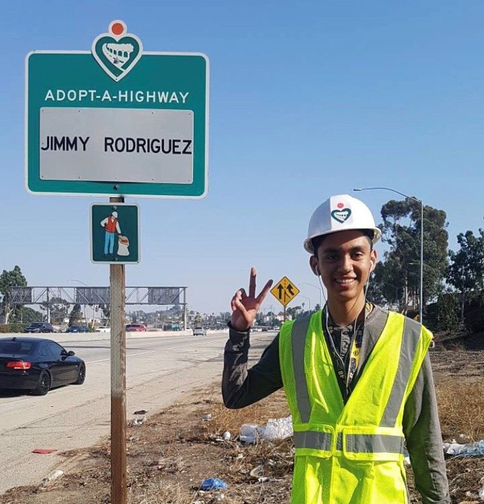 Jimmy Rodriguez - next to adopt a highway sign courtesy caltrans.jpg
