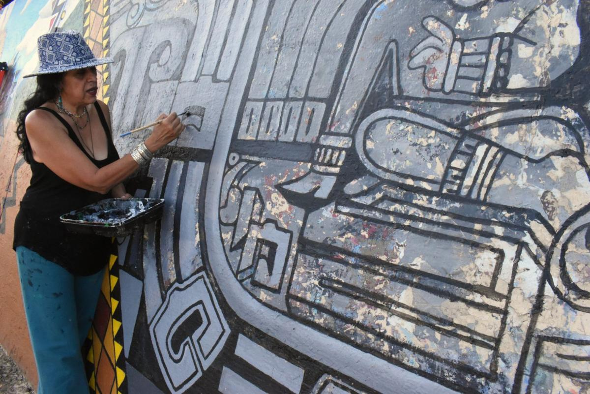 Southwest Museum Mural restoration with pola lopez photo by nathan solis 10-11-2019 2-52-33 PM.JPG