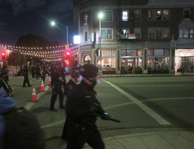 Police and protester standoff in echo park