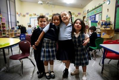 The Archdiocese of Los Angeles school kids in class