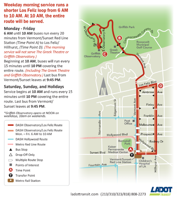 Map of new Los Feliz Griffith Park DASH bus route