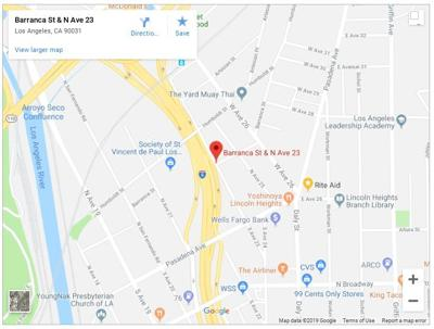 Map of stabbing at Barranca Street and Avenue 23 in Lincoln Heights
