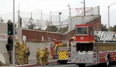 Fire damages historic East L.A. handball court site