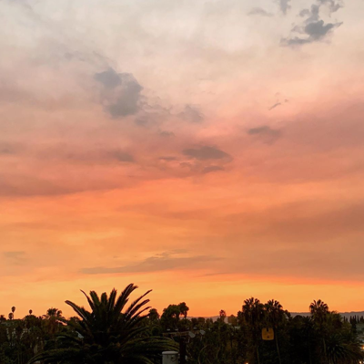 Smoke-tinted Echo Park sunset
