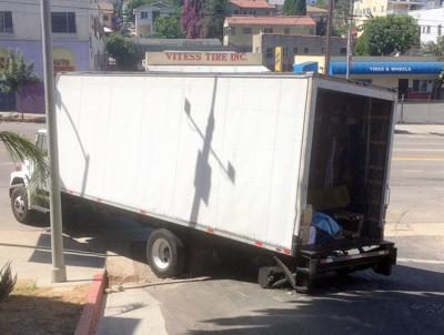 Stuck truck and Quintero Street and Sunset Boulevard in Echo Park