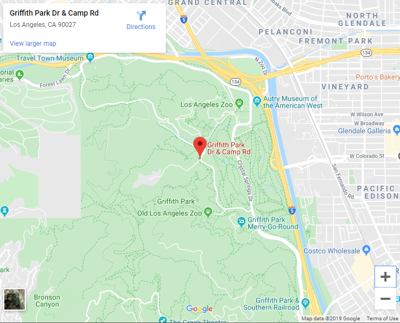Map of Camp Road and Griffith Park drive