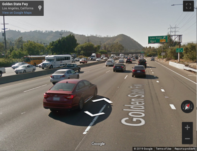 Google Street view of 5 Freeway near Los Feliz Boulevard