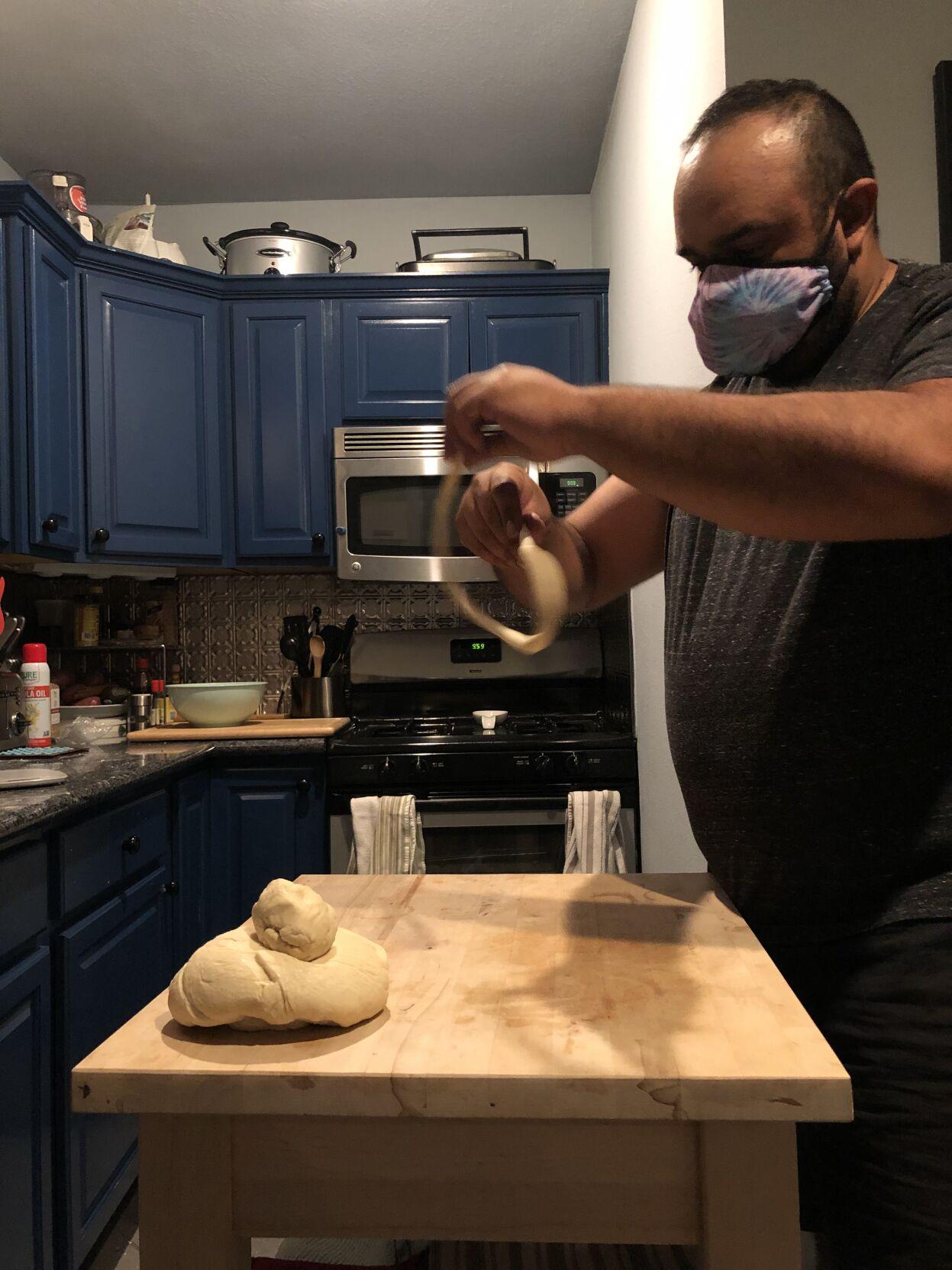 Jesse Reyes making pretzels