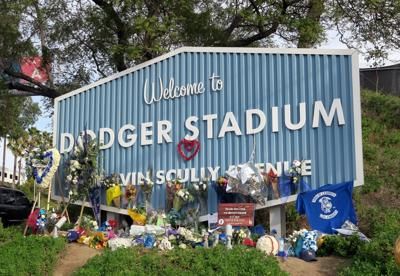 tommy lasorda memorial at dodger stadium welcome sign 1-3-2021 3-59-56 PM.JPG
