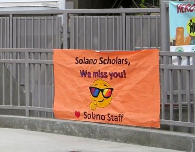 Solano School we miss you sign 728