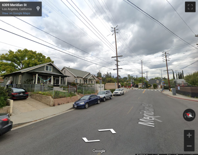Google street view of 6300 block of Meridian Street in Garvanza
