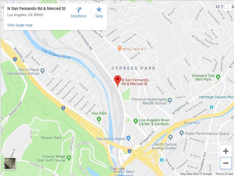Map of Cypress Park shooting at San Fernando Road and Merced