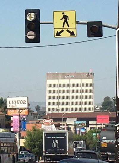 Traffic signal being installed at Sunset and Portia in Echo Park