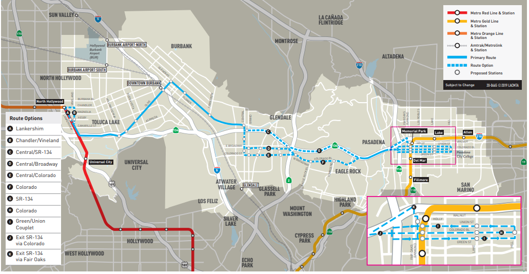Proposed North Hollywood Pasadena BRT routes