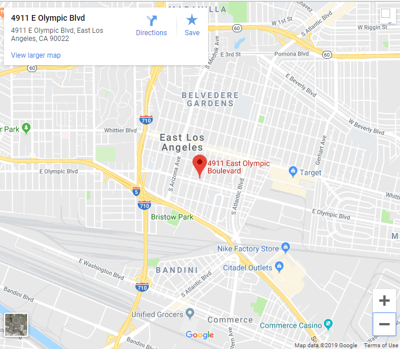 Google Map of 4911 E Olympic in East Los Angeles