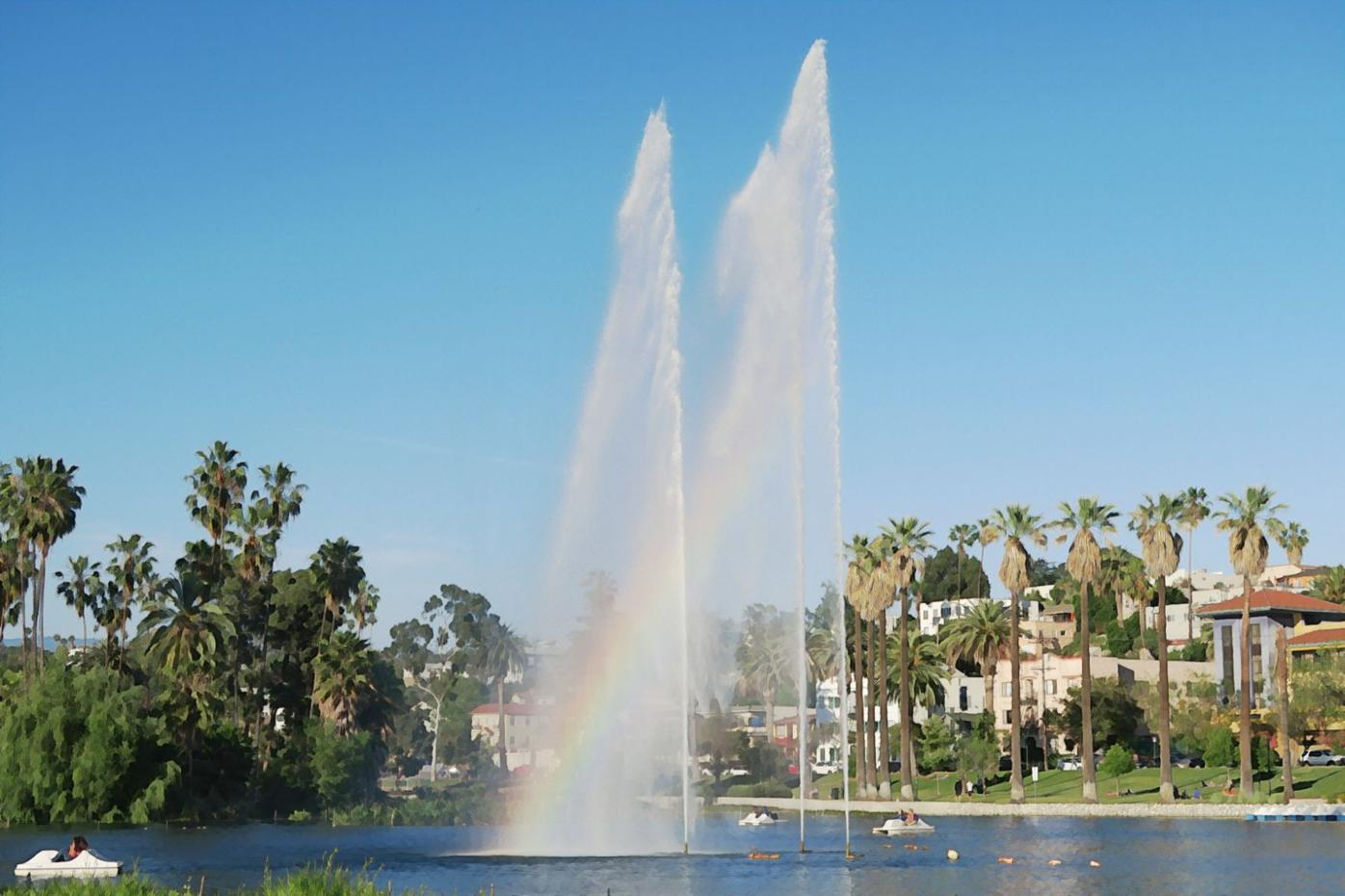 Echo Park Lake watercolor effect
