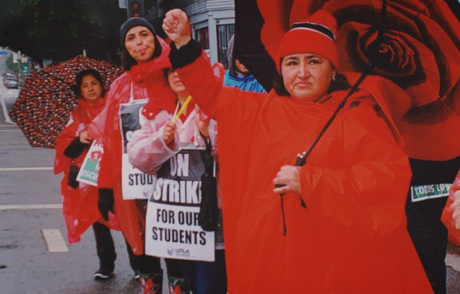 Striking teachers take to Sunset Boulevard in Echo Park and Silver Lake