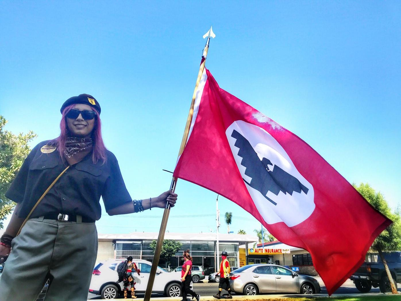 Brown beret with UFW flag