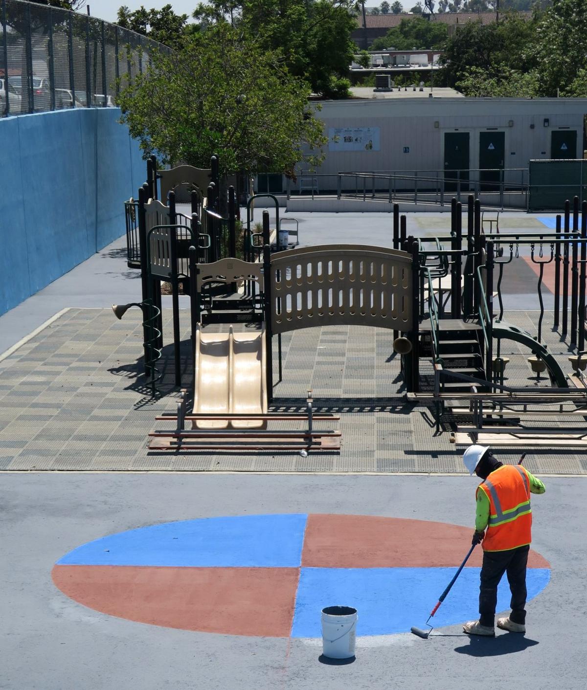 Logan Street School Playground being painted