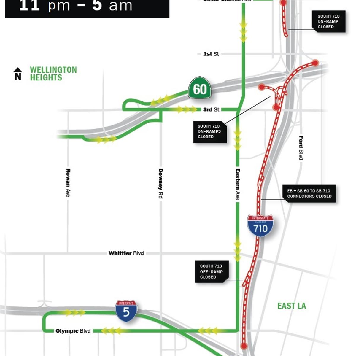 Detour Ahead: Prepare for evening East L A  freeway closures