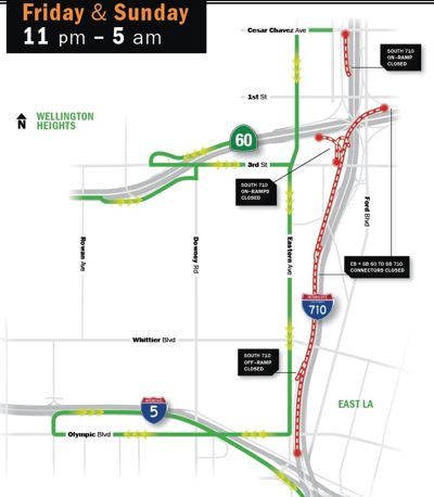 Map of 710 Freeway southbound closure April 2019