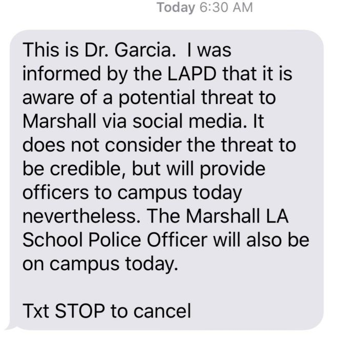 Marshall High parents alerted about threats against school; police don't consider them credible [updated]