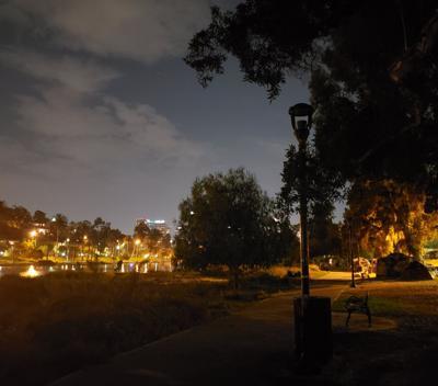 Lights out at Echo Park Lake