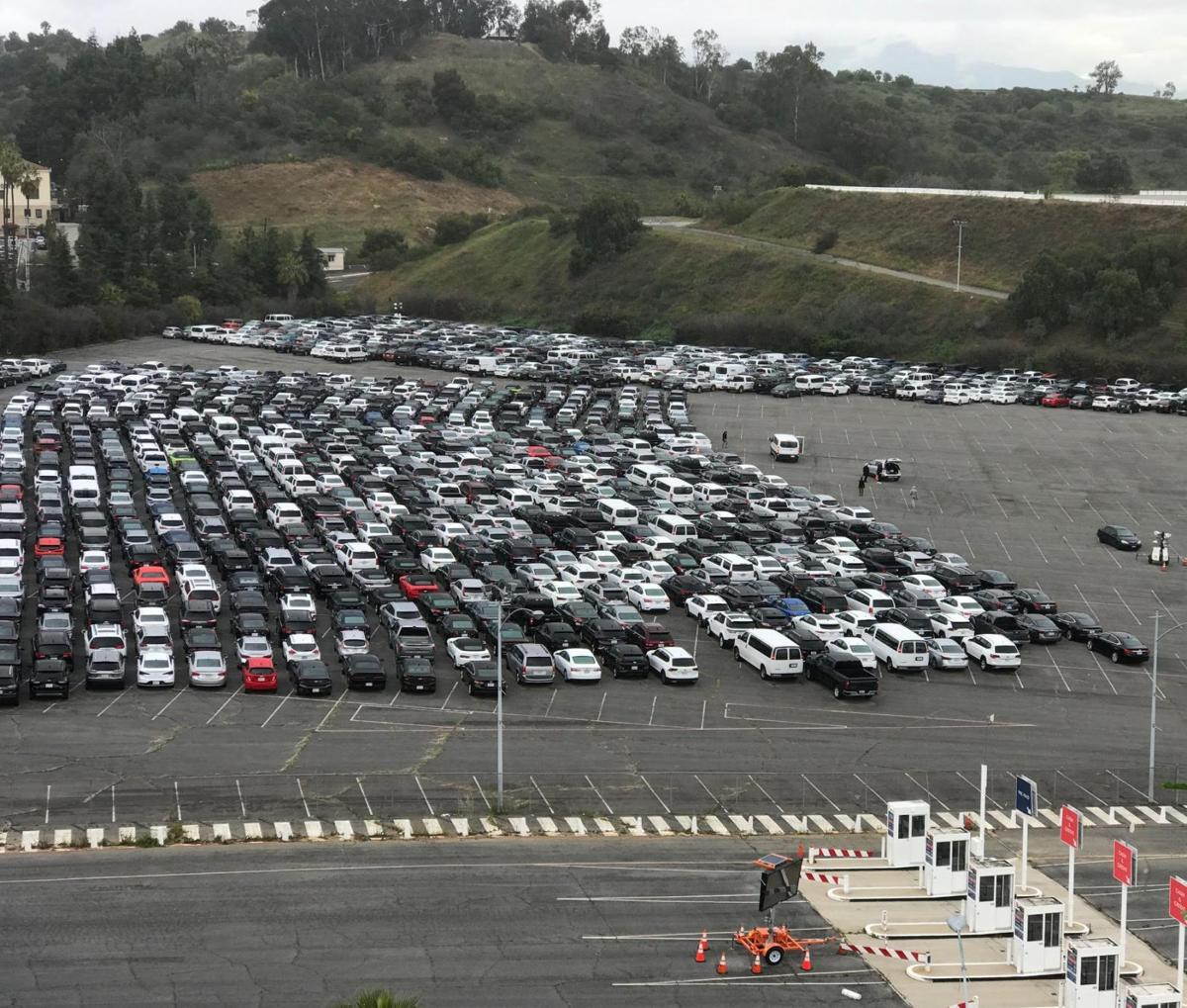 Cars parked at Dodgers Stadium