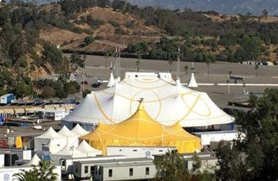 Cirque du Soleil's tent city rises in the Dodgers' parking lot