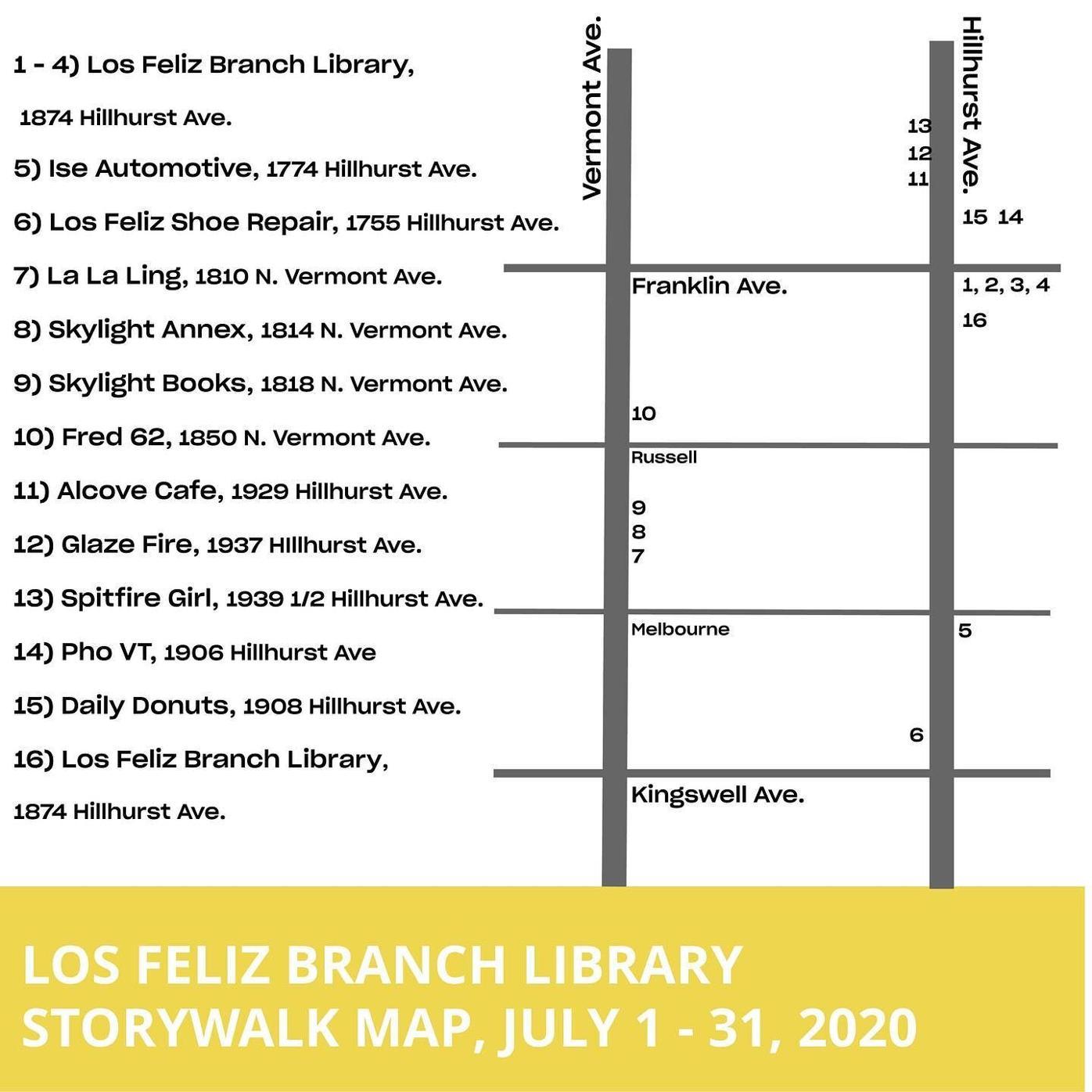 Los Feliz Branch Library Storywalk Map