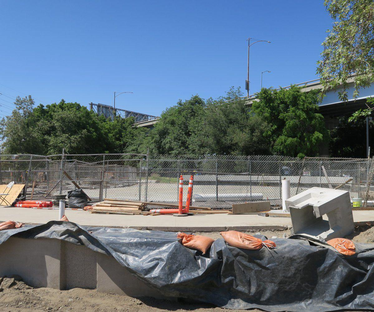 Fenced off Phase 1 of Confluence Park