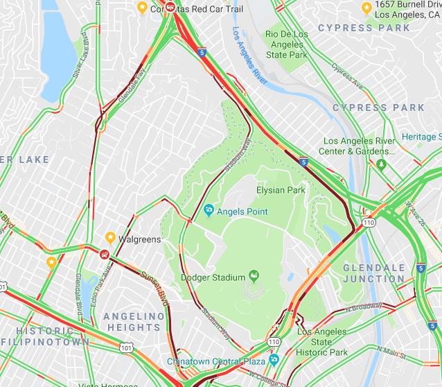Lunchtime traffic jam surrounds Dodger Stadium