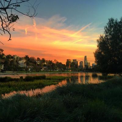 Echo Park Lake at Sunset