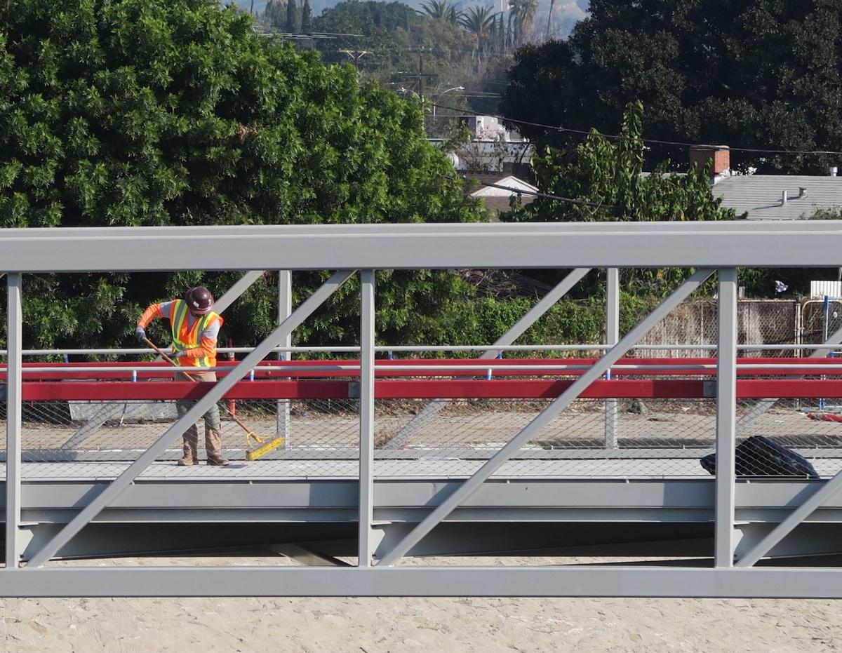Red Car LA River Bridge nearing completion Jesus Sanchez 1-5-2020 2-58-31 PM.JPG