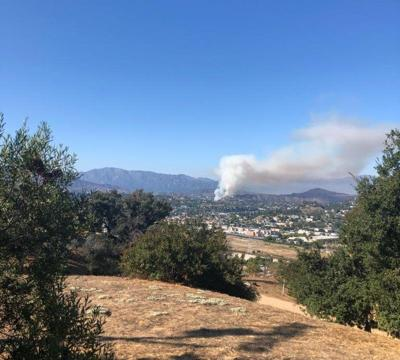 Grass fire burning near 2 and 134 freeways in eagle rock